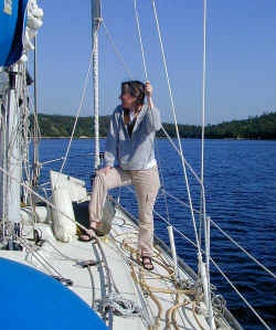 Janee looking for whales on Ken's boat off Halifax NS, June, 2001